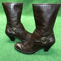 BORN Brown Leather Zip Mid-Calf Fashion Boots Size 8.5 / 40 M/W Style W61284