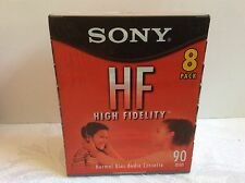 New sealed 8 pack Sony High Fidelity HF 90 min Audio Cassette Tapes Voice Music