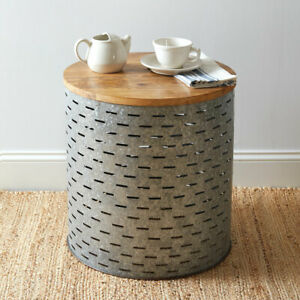 Olive Bucket Side Table with wood Top