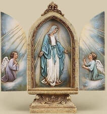 "9"" MARY & ANGELS OUR LADY OF GRACE STATUE TRYPTYCH Grotto Doors Open ~NICE!"