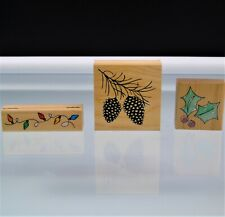 Christmas Holiday Rubber Stamps Crafting Stamping Art Lot Of 3