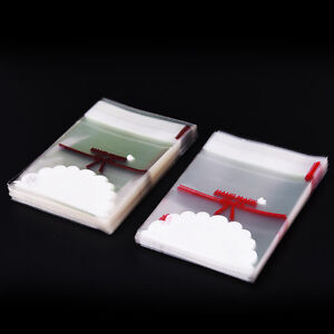 100X Lovely Lace Bow Print Gifts Bags Christmas Packaging Self-adhesive BagsH.ji
