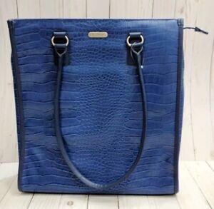 Targus Womens Blue Laptop Handbag Tote Faux Alligator Croc Crocodile Embossed