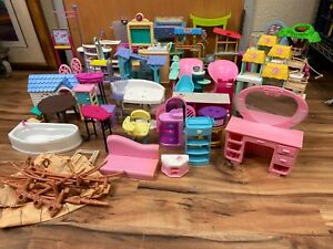 Huge Lot Of Mixed Barbie Friends Doll House Furniture and Accessories