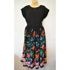 Stunning Vintage Black Floral Print Dress Size M Medium 10 - 12 Young Edwardian
