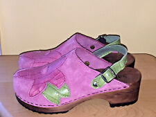 Sanita (Pink/Green/Floral/Wood Heel) Suede Clogs-Girls/Youth Size 34/U.S. Size 4