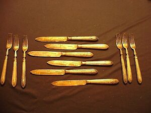 12 Antique Victorian Engraved Knives & Forks By Martin Hall & Co. C 1860's