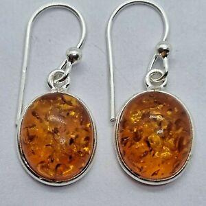 Brand New Sterling Silver 925 Amber Hook Earrings