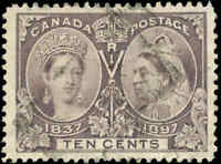 Used 1897 Canada VF Scott #57 10c Diamond Jubilee Stamp