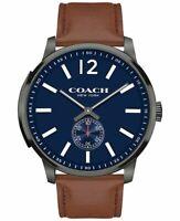 COACH Bleecker Brown Leather Strap Blue Dial Watch 14602083