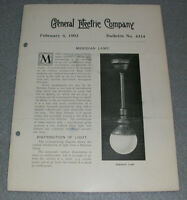 Antique Meridian Lamp Lighting Fixtures General Electric GE Report Book 1903