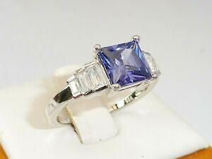 Ladies Art Deco Design 925 Silver White Sapphire and 1.5 Carat Tanzanite Ring