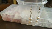 freshwater pearls and AB Swarovski crystal bicone earrings