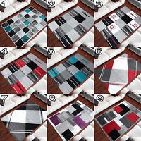 Teppich Kurzflor Grau Kariert Muster Designer Wohnzimmer Rechteckig Teppich Grau
