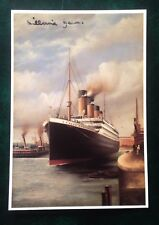 Colour postcard sign Millvina Dean 20/100 1992 RMS Titanic leaving dock painting