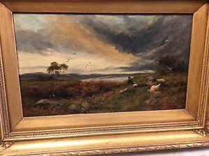 J. Morris (British, fl. 1851-63) Original Shepherd Oil Painting On Canvas