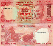 INDIA 20 RS 2011 E Rare Inset Star Replacement Paper Money Currency Note UNC NEW