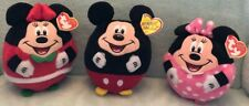 Ty Beanie Ballz Collection~Disney Mickey Mouse And Santa Minnie Mouse & Minnie
