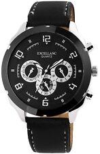 Herrenuhr Schwarz Silber Titan-Chrono-Look Leder Armbanduhr