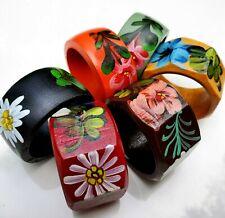 Scandinavian Wooden Napkin Rings Swedish Folk Art Hand Painted Colorful Set of 6