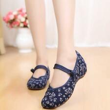 Vintage Chinese Style Women Embroidered Shoes Mary Jane Qipao Dress shoes Flat L