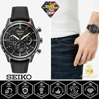 Seiko SSB359 Men's Solar Chronograph Black Dial Black Leather Fabric Watch