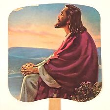 Vintage Paper Church Funeral Hand Fan JESUS in the Garden Wood Handle Cardboard