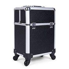 4-wheel Organizer Storage Box Rolling Cosmetic Bag Trolley Makeup Case Bag Black