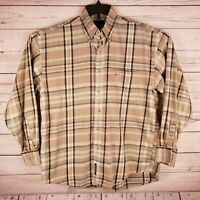 Greg Norman Collection Mens Medium Beige Plaid Long Sleeve Button Down Shirt
