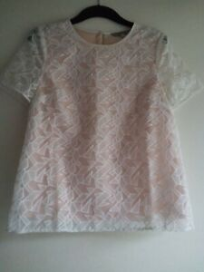 Marks and Spencer Limited Edition White & Nude Lace Top Size 8 BNWOT