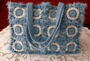 Handmade blue crochet woman shoulder bag
