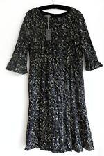 LAURA ASHLEY BLACK & GREY VELVETY DRESS 16/44