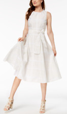 Calvin Klein Women's Sleeveless Plaid Fit and Flare Self Sash Dress White Size 4