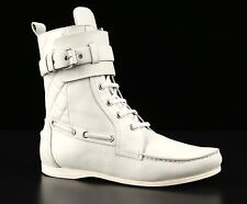 BALENCIAGA LIGHT TAUPE LEATHER QUILTED LACE-UP HIGH TOP ANKLE BOOTS TRAINERS 38