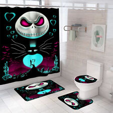 The Nightmare Before Christmas Shower Curtain Mat Non-Slip Toilet Lid Cover 4PCS