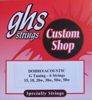 "GHS Custom Dobro or Acoustic Guitar Strings ""G Tuning""- 1 Set"