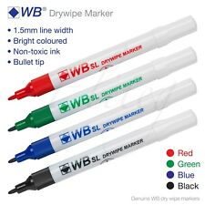 Dry Wipe Pens Whiteboard Marker Erase Wipe Clean Metal Glass Schools Meetings