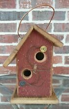 Re-purposed Barnwood & Cedar In and Out Collectible Birdhouse w/Bed Spring Perch
