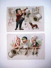 "Set of (2) Victorian Trade Cards -""J&P Coats Thread"" w/Little Men & Dog Howling*"