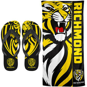 Richmond Tigers Beach Towel & Flip Flops Thongs set | AFL Football | Size Small