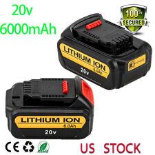 For DeWalt 20V 20 Volt Max XR 6.0AH Lithium Ion Battery Pack DCB200-2 DCB206 2PC
