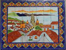 # 28  Mexican Talavera Mosaic Mural Tile Handmade Folk Art Ocean View Backsplash