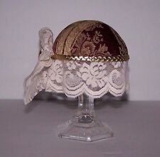 "Pincushion Victorian Themed Lamp/Footstool Floral Lace Trim 7"" X 6"" Handmade New"