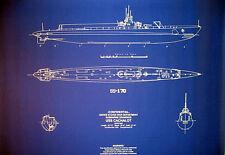 "US Navy Diesel Sub Submarine WW2 USS Cachalot Blueprint Plan 24""x30"" (083)"