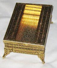 "Goldtone Metal 4 1/2"" Mesh Single Size Klenex Box on Pedestal w Lid"