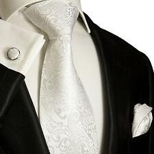 Weißes Krawatten Set 3tlg 100% Seide Paul Malone 946