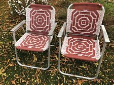 Vintage Mid Century Aluminum Macrame Woven Weave Folding Lawn Patio Chairs