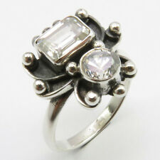 Style Ring Sz 7 Free Shipping 925 Silver White Cubic Zirconia Old