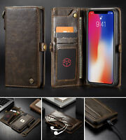 For iPhone XR/XS/Max, Retro Stand Removable Leather Wallet Magnetic Case Cover