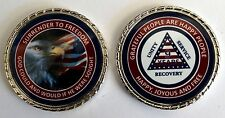 """Alcoholics Anonymous 9 Year Patriotic Rope Edge Sobriety Coin Chip 1 3/4"""""""